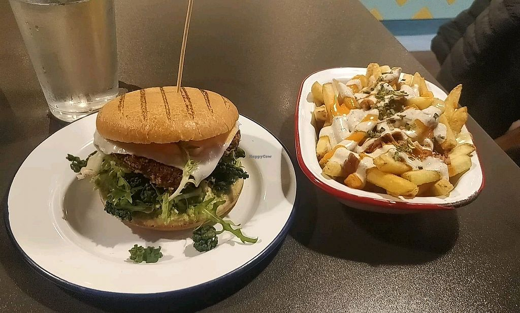 """Photo of V Rev Vegan Diner  by <a href=""""/members/profile/CCouch"""">CCouch</a> <br/>amazing delicious chkn burger <br/> April 4, 2018  - <a href='/contact/abuse/image/32339/380600'>Report</a>"""