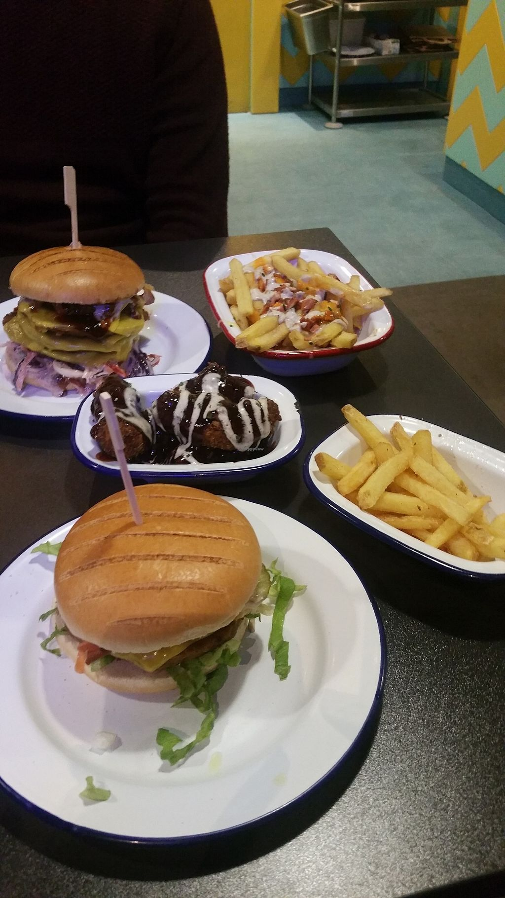 """Photo of V Rev Vegan Diner  by <a href=""""/members/profile/Nicola.W"""">Nicola.W</a> <br/>Burgers, fries and bbq chicken tenders <br/> April 16, 2018  - <a href='/contact/abuse/image/32339/386753'>Report</a>"""