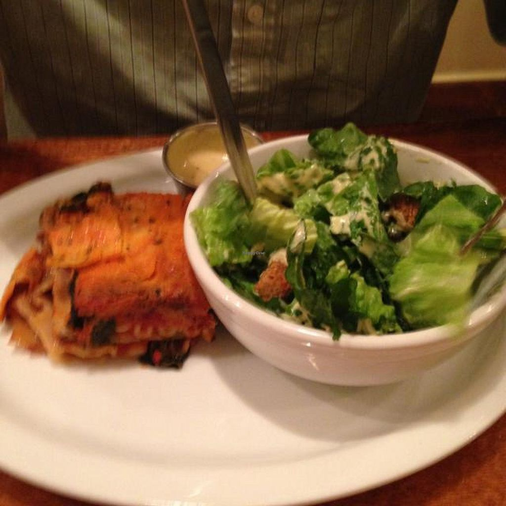 """Photo of Detroit Vegan Soul - East  by <a href=""""/members/profile/Mariarosekicks"""">Mariarosekicks</a> <br/>lasagna and Caesar salad <br/> October 5, 2014  - <a href='/contact/abuse/image/32342/82201'>Report</a>"""