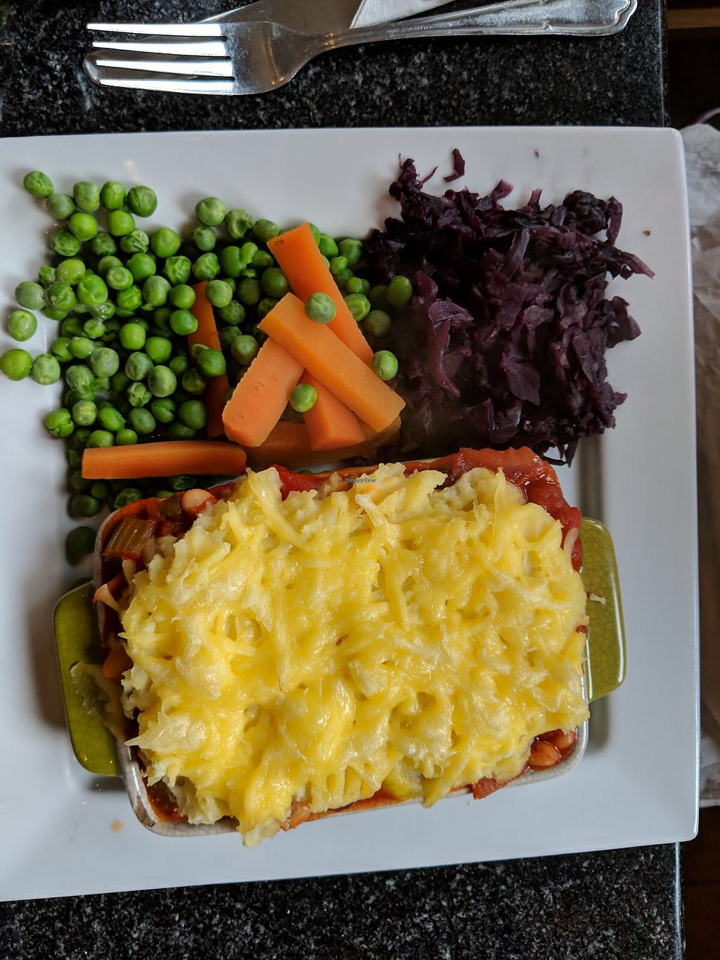 """Photo of Greens Cafe  by <a href=""""/members/profile/Geri%E2%80%99sBeanThere"""">Geri'sBeanThere</a> <br/>Vegan Shepherds Pie <br/> April 10, 2018  - <a href='/contact/abuse/image/32367/383385'>Report</a>"""