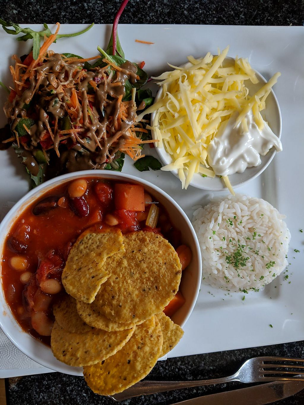 """Photo of Greens Cafe  by <a href=""""/members/profile/Geri%E2%80%99sBeanThere"""">Geri'sBeanThere</a> <br/>Vegan Chilli <br/> April 10, 2018  - <a href='/contact/abuse/image/32367/383387'>Report</a>"""