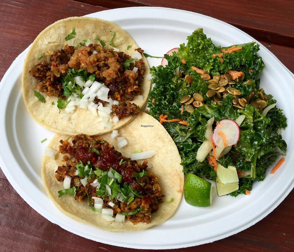 "Photo of The Grey Eagle Taqueria  by <a href=""/members/profile/halfthejob"">halfthejob</a> <br/>Two lentil chorizo tacos (one with an arbol sauce and the other with Cheerwine habanero) and a fiambre salad on the side <br/> June 19, 2015  - <a href='/contact/abuse/image/32400/213581'>Report</a>"