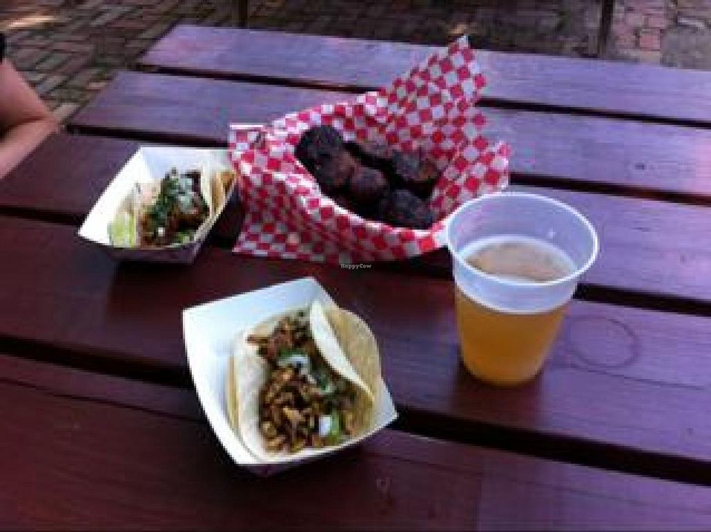 "Photo of The Grey Eagle Taqueria  by <a href=""/members/profile/tcasalena"">tcasalena</a> <br/>chorizo and tempeh tacos and plantains without sauce (vegan) <br/> August 23, 2014  - <a href='/contact/abuse/image/32400/78033'>Report</a>"