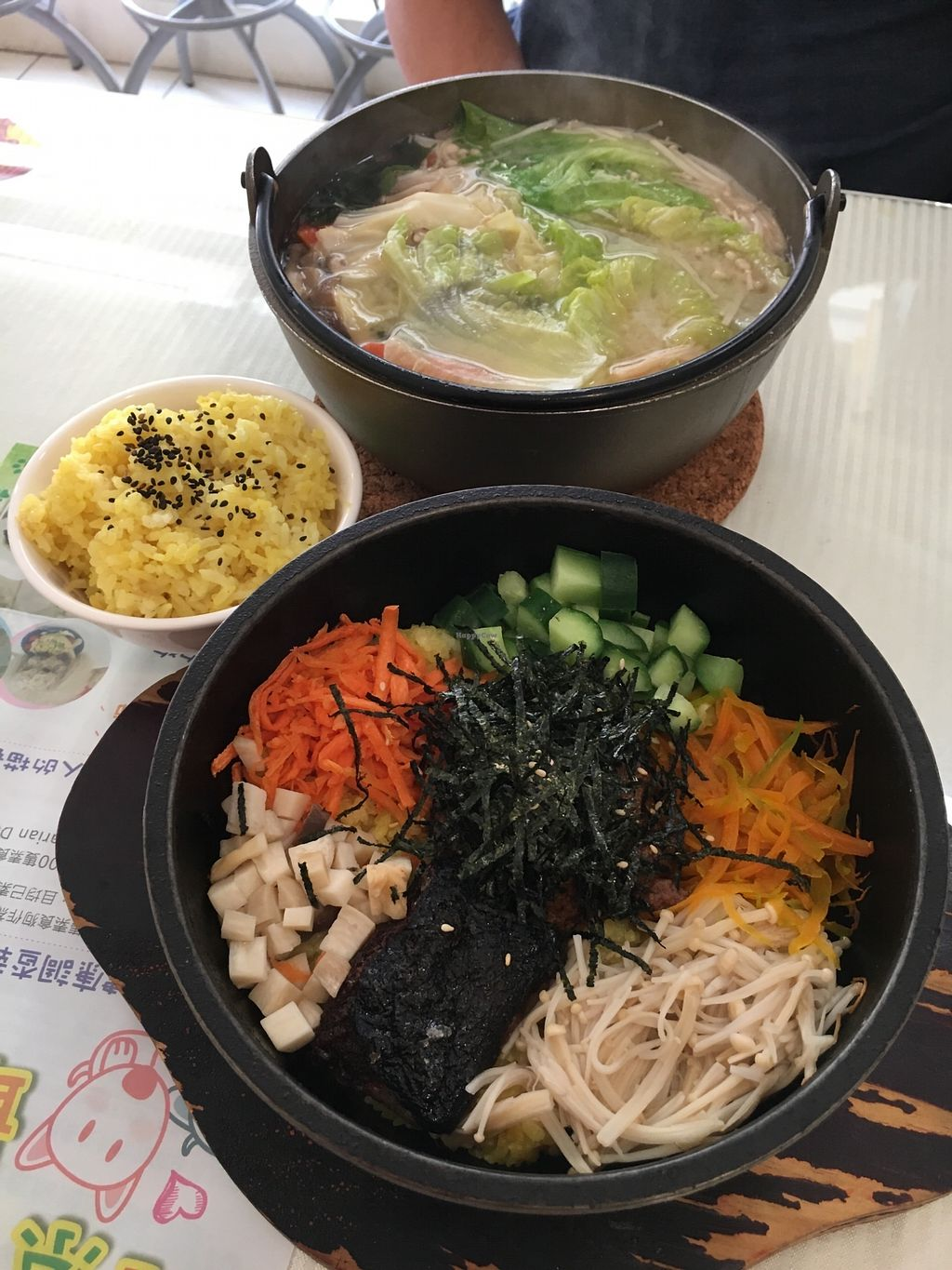 """Photo of Loving Hut - QingZhong St  by <a href=""""/members/profile/sousuneautrelentille"""">sousuneautrelentille</a> <br/>Taiwanese bi bim bap (bottom), miso hot pot (top), and rice <br/> February 26, 2018  - <a href='/contact/abuse/image/32419/364019'>Report</a>"""
