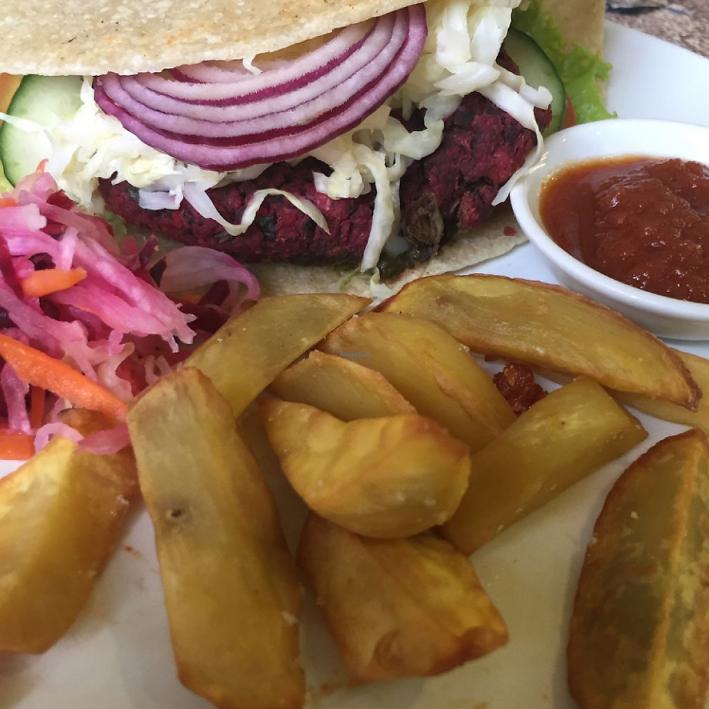 """Photo of Earth Cafe and Market - Ubud  by <a href=""""/members/profile/Eefie"""">Eefie</a> <br/>Veggie burger on a glutenfree wrap <br/> May 31, 2017  - <a href='/contact/abuse/image/32487/264375'>Report</a>"""