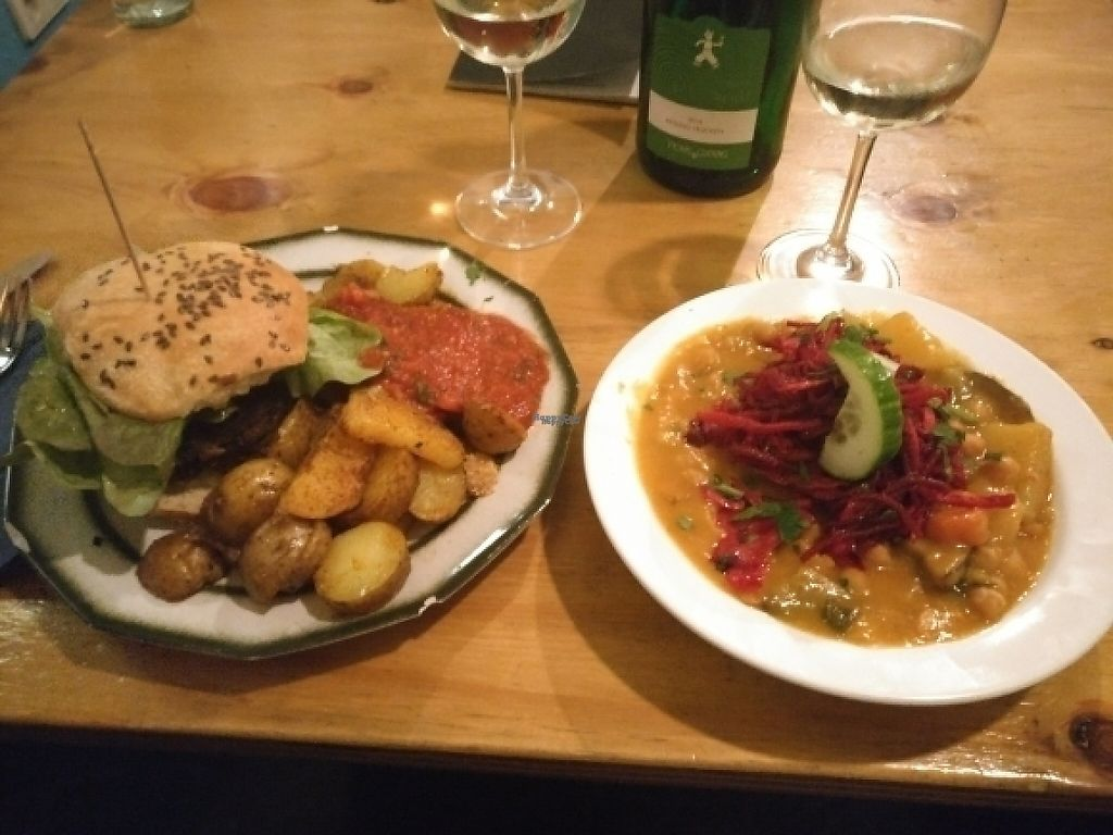 """Photo of Kombuse  by <a href=""""/members/profile/Callummcgill"""">Callummcgill</a> <br/>Black bean burger with potatoes, and curried beats and chickpeas  <br/> March 3, 2017  - <a href='/contact/abuse/image/32500/232075'>Report</a>"""