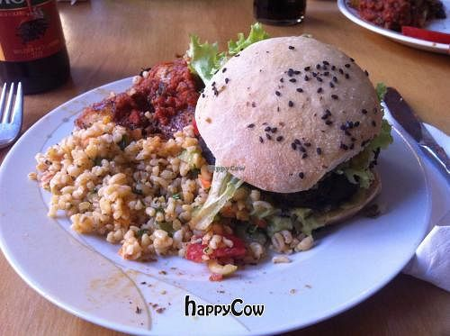 "Photo of Kombuse  by <a href=""/members/profile/Aiyasai"">Aiyasai</a> <br/>Black bean vegan cheese burger  <br/> May 21, 2013  - <a href='/contact/abuse/image/32500/48440'>Report</a>"