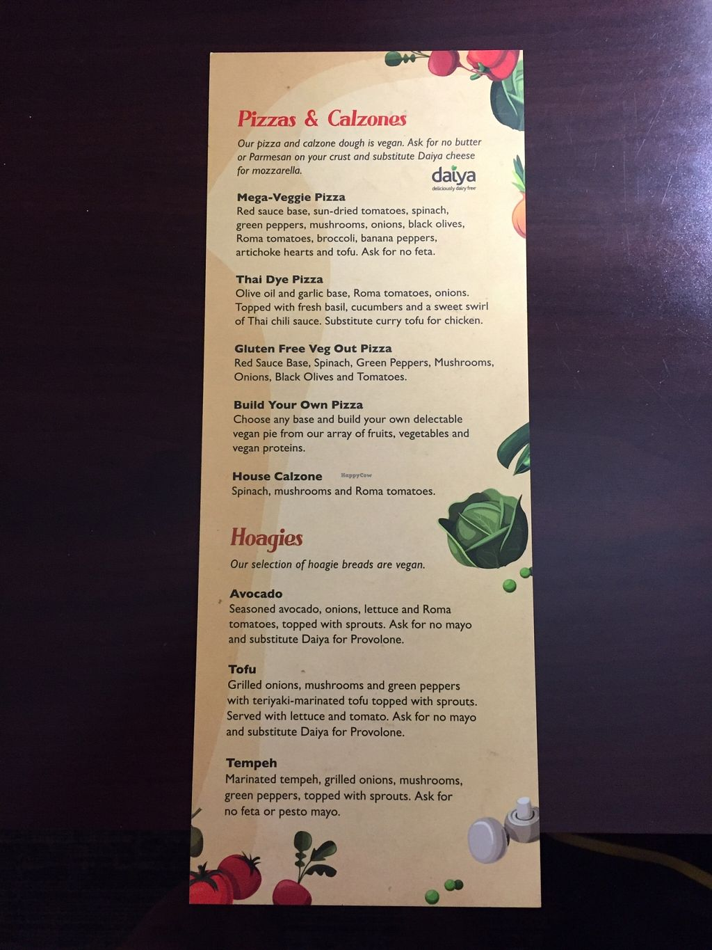 "Photo of Mellow Mushroom  by <a href=""/members/profile/StevieSurf"">StevieSurf</a> <br/>Vegan menu 2 <br/> December 28, 2015  - <a href='/contact/abuse/image/32511/130123'>Report</a>"