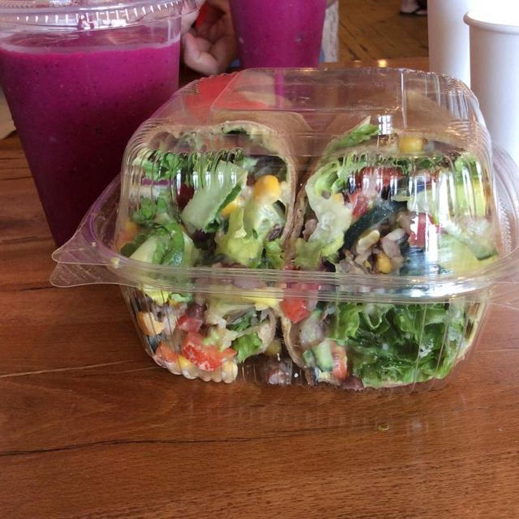 """Photo of Fruitive  by <a href=""""/members/profile/xonicolenatalie"""">xonicolenatalie</a> <br/>Southwest Wrap and Dragon Berry Smoothie <br/> May 28, 2014  - <a href='/contact/abuse/image/32512/70929'>Report</a>"""