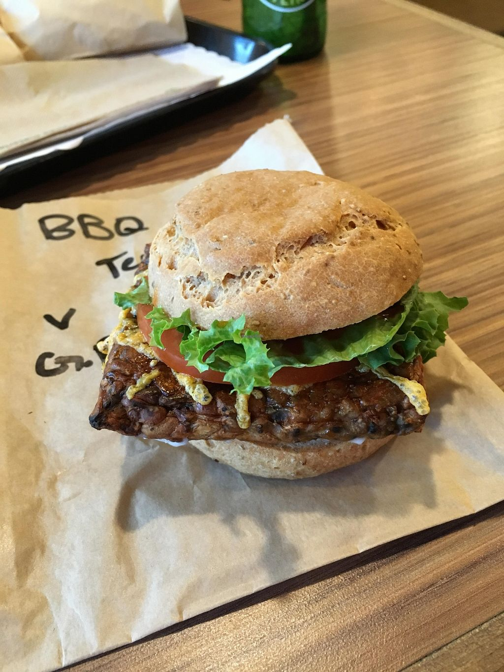 """Photo of Tera V Burger  by <a href=""""/members/profile/vegan%20frog"""">vegan frog</a> <br/>Gluten free tempeh burger <br/> April 9, 2016  - <a href='/contact/abuse/image/32519/143688'>Report</a>"""