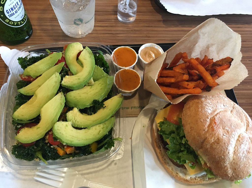 """Photo of Tera V Burger  by <a href=""""/members/profile/manic-organic"""">manic-organic</a> <br/>No bull burger with yam fries and kale and quinoa salad <br/> April 8, 2017  - <a href='/contact/abuse/image/32519/245930'>Report</a>"""