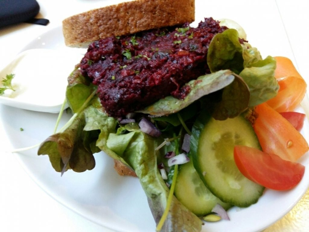 """Photo of CLOSED: Fine Fresh Food  by <a href=""""/members/profile/Gudrun"""">Gudrun</a> <br/>'Bietburger' with vegan sour cream <br/> January 17, 2016  - <a href='/contact/abuse/image/32532/132694'>Report</a>"""