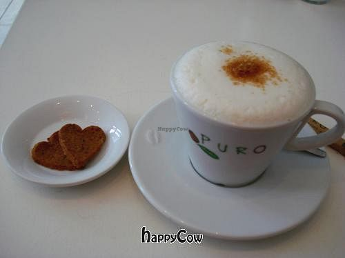 """Photo of CLOSED: Fine Fresh Food  by <a href=""""/members/profile/Gudrun"""">Gudrun</a> <br/>Soy cappuccino with vegan cookies <br/> September 12, 2012  - <a href='/contact/abuse/image/32532/37803'>Report</a>"""
