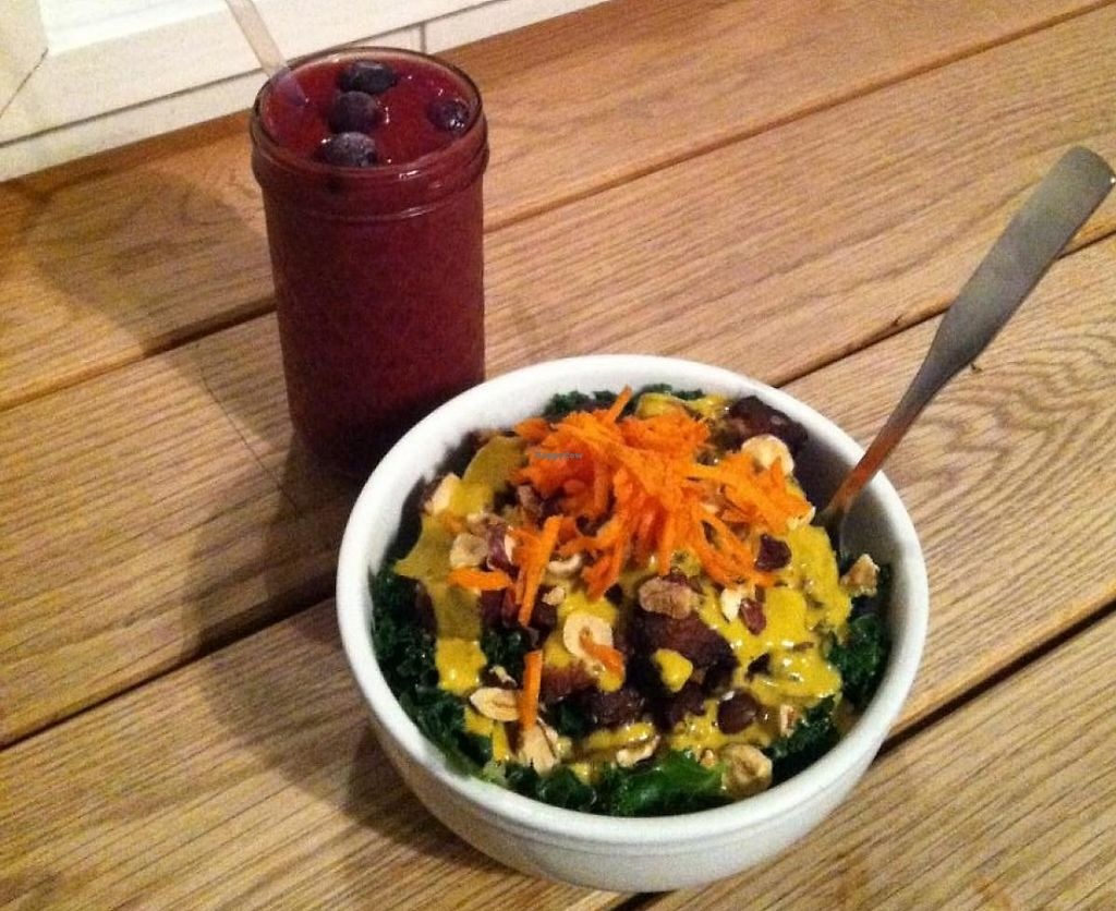 """Photo of Canteen  by <a href=""""/members/profile/spiffysavannah"""">spiffysavannah</a> <br/>Portland Bowl and Ginger Berry smoothie! <br/> February 3, 2014  - <a href='/contact/abuse/image/32533/221229'>Report</a>"""