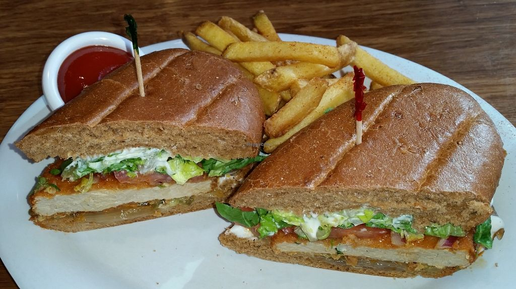 """Photo of Veggie Grill - Downtown Portland  by <a href=""""/members/profile/warmstorage"""">warmstorage</a> <br/>The Buffalo Bomber, made 'El Dorado' style (grilled onions and jalapenos.) Delicious!  <br/> March 12, 2016  - <a href='/contact/abuse/image/32544/139716'>Report</a>"""