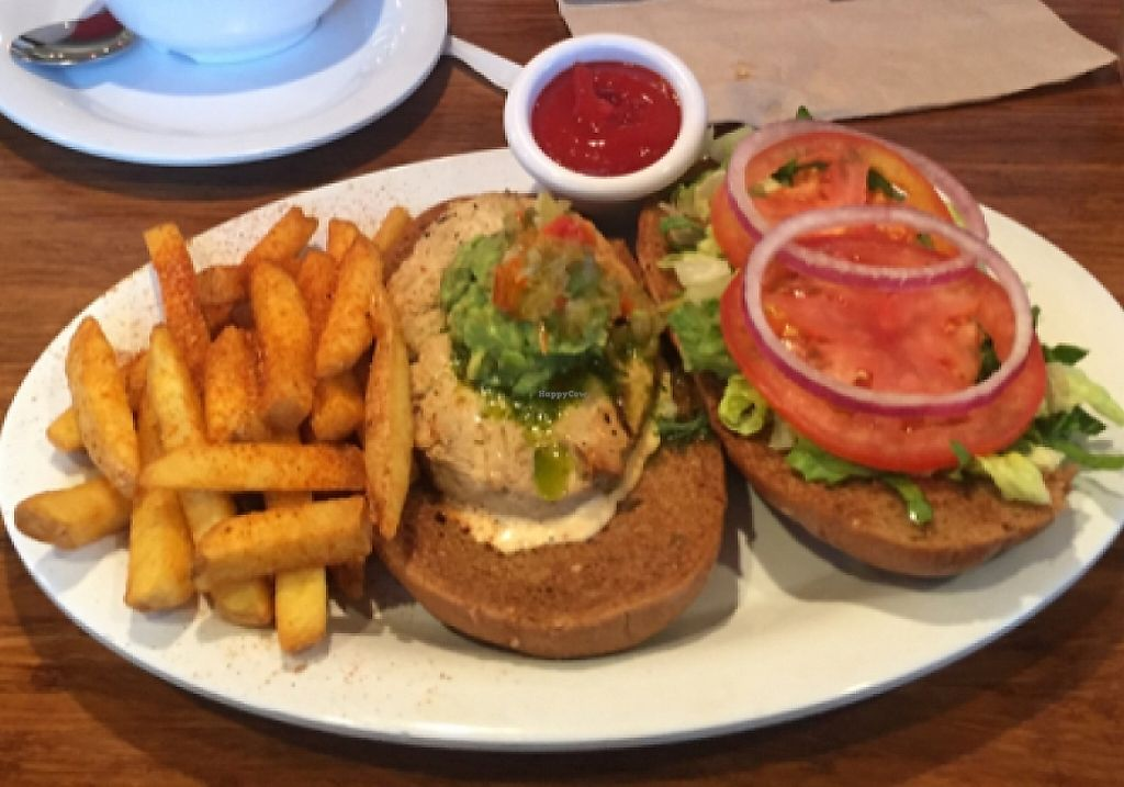 """Photo of Veggie Grill - Downtown Portland  by <a href=""""/members/profile/juliabartlett_"""">juliabartlett_</a> <br/>grillin chickin sandwich, mac and cheese, and fish tacos! <br/> March 22, 2016  - <a href='/contact/abuse/image/32544/220568'>Report</a>"""