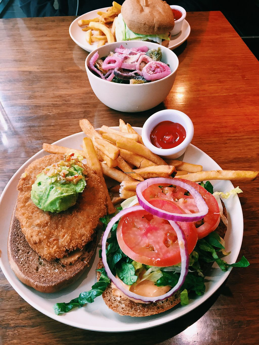 """Photo of Veggie Grill - Downtown Portland  by <a href=""""/members/profile/ginaterrito"""">ginaterrito</a> <br/>Beyond burger and chicken sandwich  <br/> April 4, 2018  - <a href='/contact/abuse/image/32544/380854'>Report</a>"""