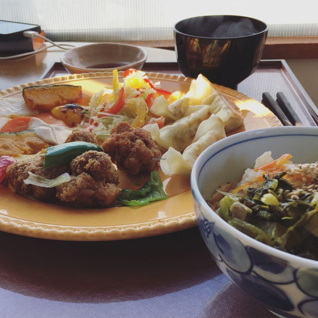 """Photo of CLOSED: Prunus  by <a href=""""/members/profile/Hstryk"""">Hstryk</a> <br/>Soy meat set meal with gyoza, rice bowl and miso soup <br/> November 20, 2015  - <a href='/contact/abuse/image/32552/125576'>Report</a>"""