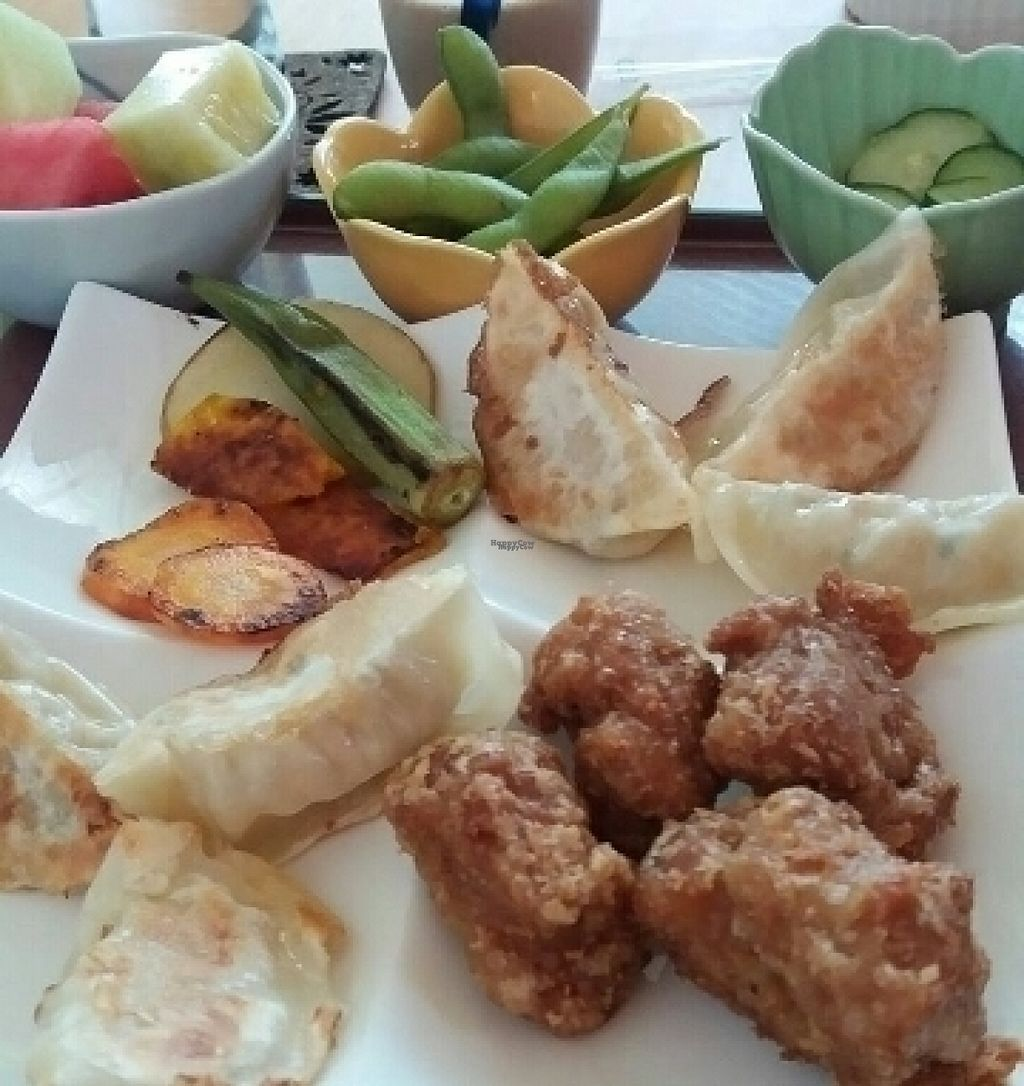 """Photo of CLOSED: Prunus  by <a href=""""/members/profile/saffron_summer"""">saffron_summer</a> <br/>Vegan 'chicken' nuggets & gyozas <br/> August 17, 2016  - <a href='/contact/abuse/image/32552/169460'>Report</a>"""