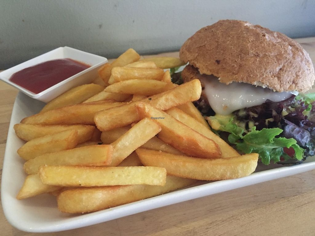 """Photo of Hari's Vegetarian  by <a href=""""/members/profile/chelseyprior"""">chelseyprior</a> <br/>Vegan Burger and Chips <br/> June 24, 2016  - <a href='/contact/abuse/image/32555/155824'>Report</a>"""