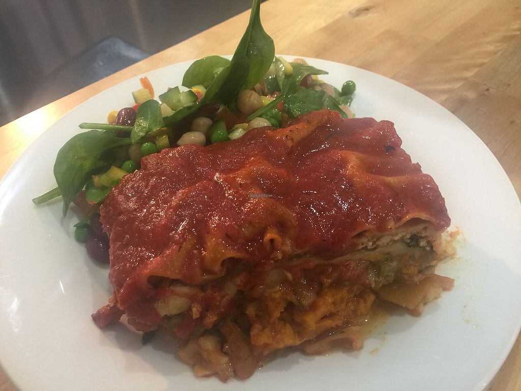 """Photo of Hari's Vegetarian  by <a href=""""/members/profile/Tiggy"""">Tiggy</a> <br/>Lasagna with bean salad <br/> July 8, 2017  - <a href='/contact/abuse/image/32555/277813'>Report</a>"""