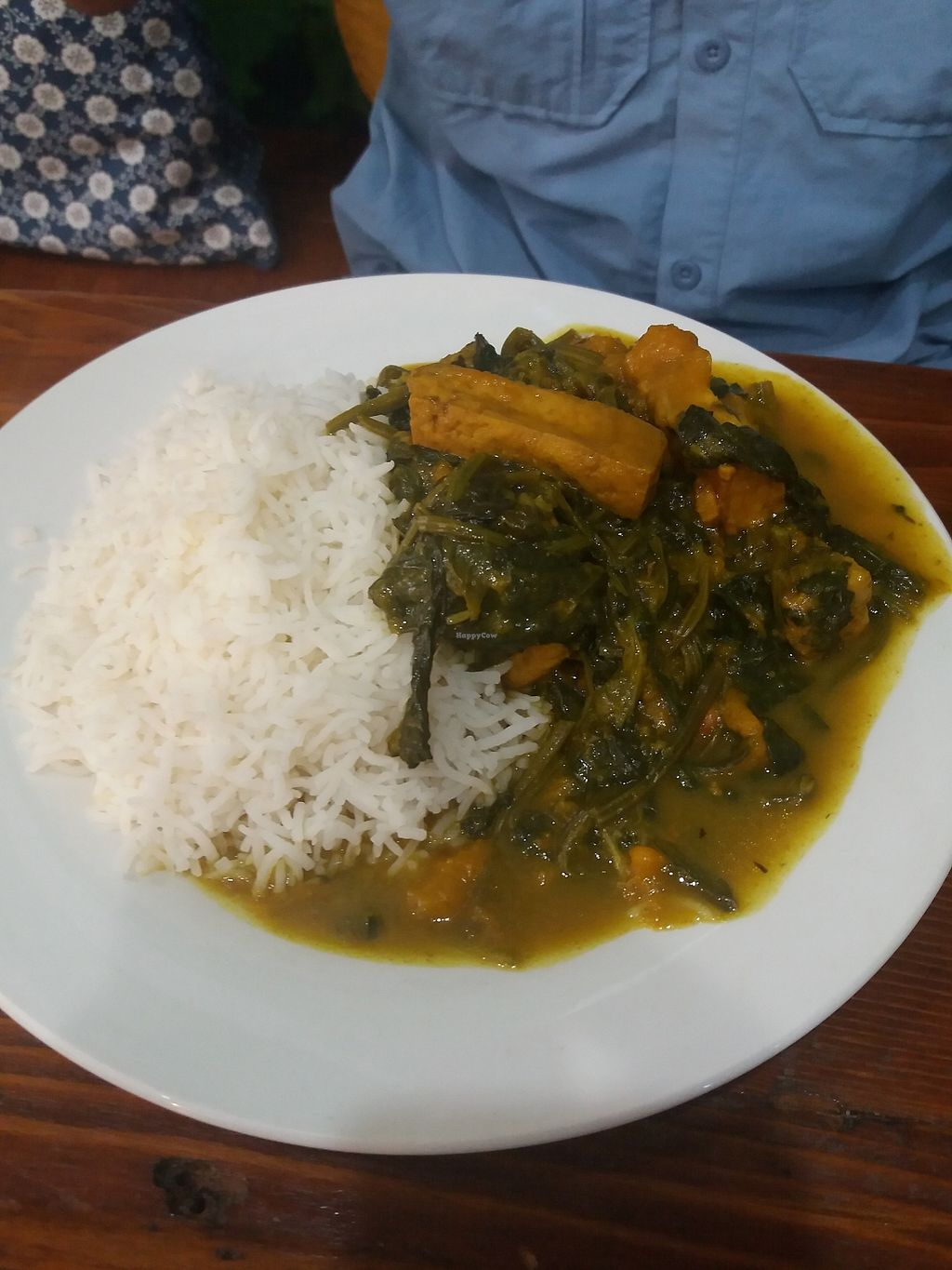"""Photo of Hari's Vegetarian  by <a href=""""/members/profile/veganvirtues"""">veganvirtues</a> <br/>Spinach, pumpkin and rice <br/> April 2, 2018  - <a href='/contact/abuse/image/32555/379701'>Report</a>"""