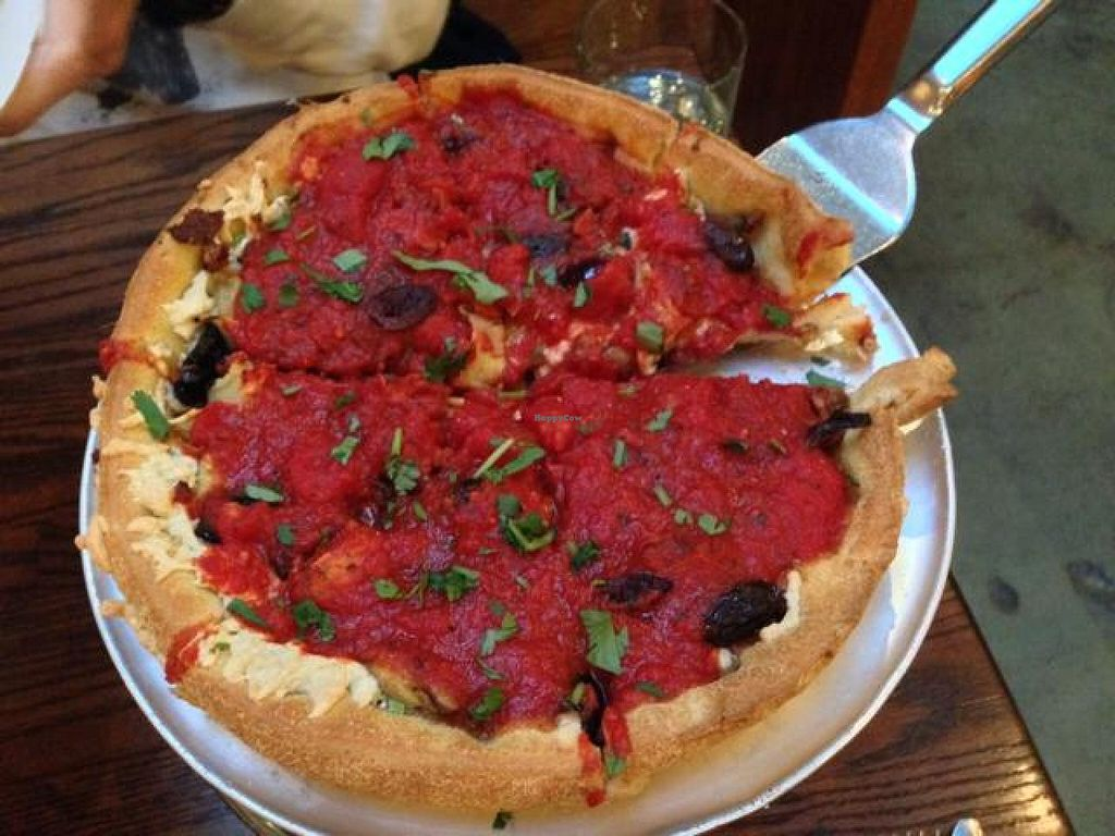 "Photo of District of Pi Pizzeria  by <a href=""/members/profile/happycowgirl"">happycowgirl</a> <br/>daiya cheese, veggie sausage & olive deep dish (vegan) <br/> October 24, 2014  - <a href='/contact/abuse/image/32562/83810'>Report</a>"