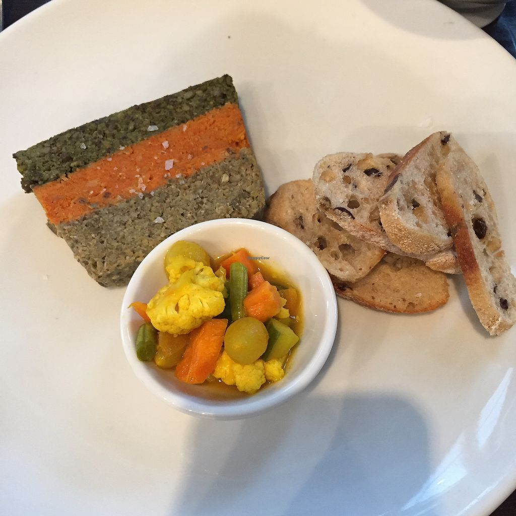 """Photo of The Gate - Islington  by <a href=""""/members/profile/suzagord"""">suzagord</a> <br/>three lentil terrain with lovely miniature pickled vegetables and crisp bread <br/> July 16, 2017  - <a href='/contact/abuse/image/32582/281193'>Report</a>"""