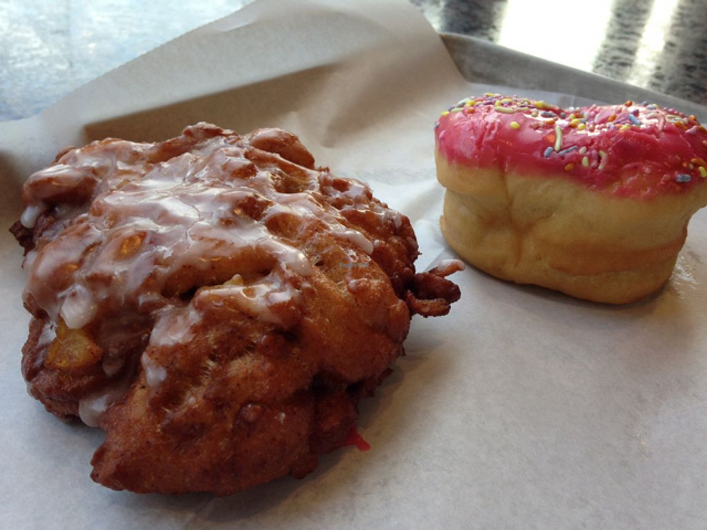 """Photo of Revolution Doughnuts  by <a href=""""/members/profile/calamaestra"""">calamaestra</a> <br/>Apple fritter and raspberry sprinkle <br/> July 10, 2016  - <a href='/contact/abuse/image/32680/158924'>Report</a>"""