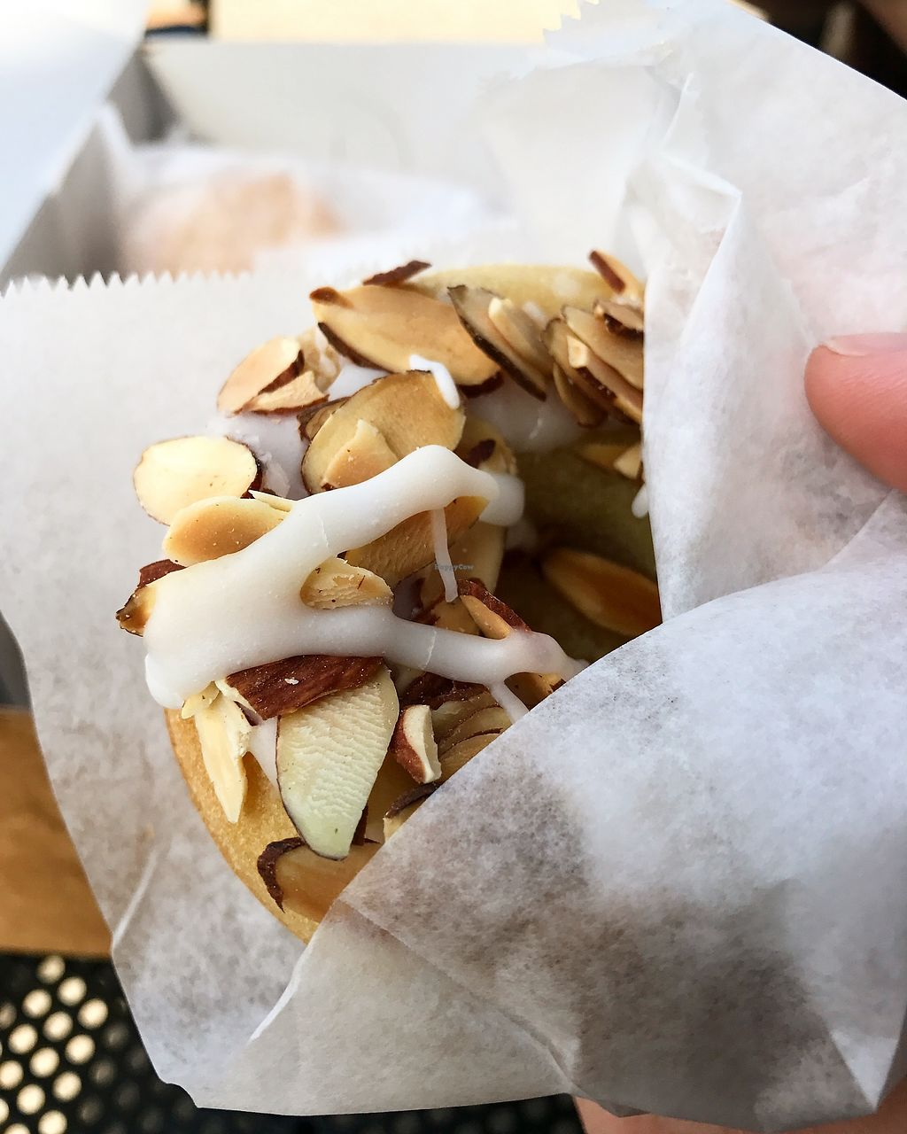 """Photo of Revolution Doughnuts  by <a href=""""/members/profile/TofuTrey"""">TofuTrey</a> <br/>Toasted Almond Vegan Doughnut <br/> March 25, 2018  - <a href='/contact/abuse/image/32680/375599'>Report</a>"""
