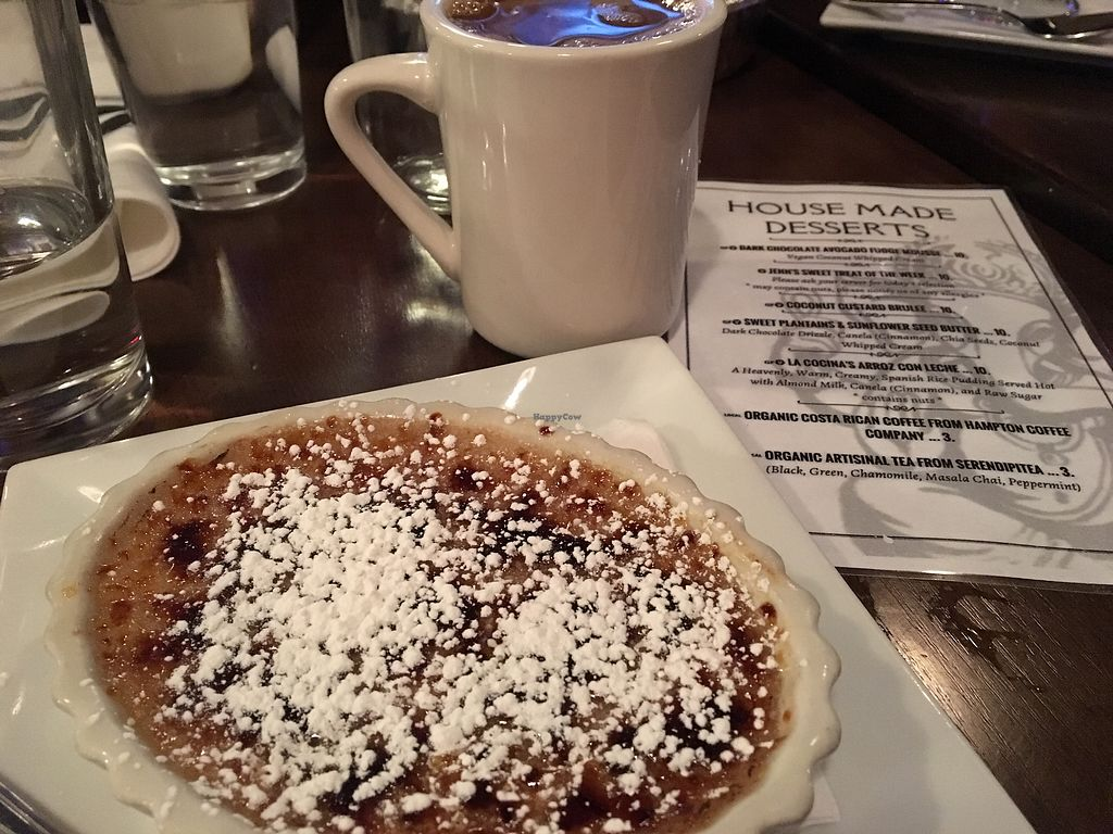 """Photo of The Purple Elephant Restaurant  by <a href=""""/members/profile/LilMsVegan"""">LilMsVegan</a> <br/>Coconut custard brûlée dessert with coffee and almond milk <br/> December 15, 2017  - <a href='/contact/abuse/image/32708/335658'>Report</a>"""