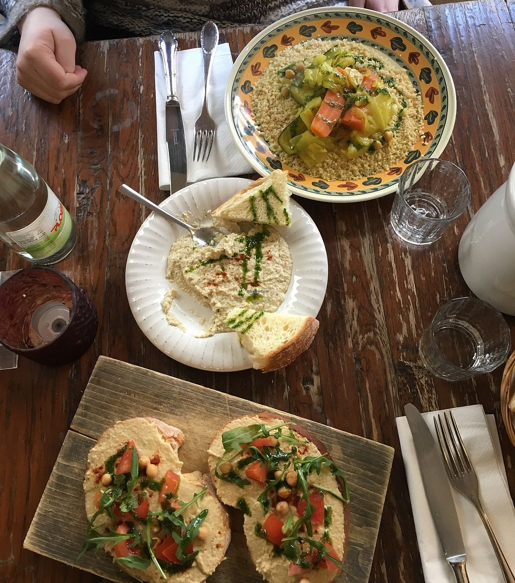 "Photo of Humus  by <a href=""/members/profile/ValentinaCarlotto"">ValentinaCarlotto</a> <br/>Cour cous, babaganoush, hummus bruschetta <br/> March 1, 2018  - <a href='/contact/abuse/image/32737/365441'>Report</a>"