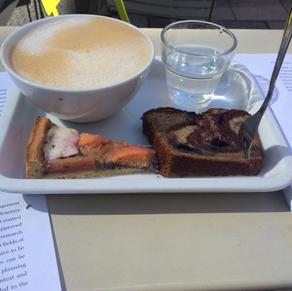 """Photo of Deli Kitchen  by <a href=""""/members/profile/Plantpower"""">Plantpower</a> <br/>coffee with oat milk and 2 little slices to try. delicious! <br/> July 1, 2015  - <a href='/contact/abuse/image/32752/107889'>Report</a>"""