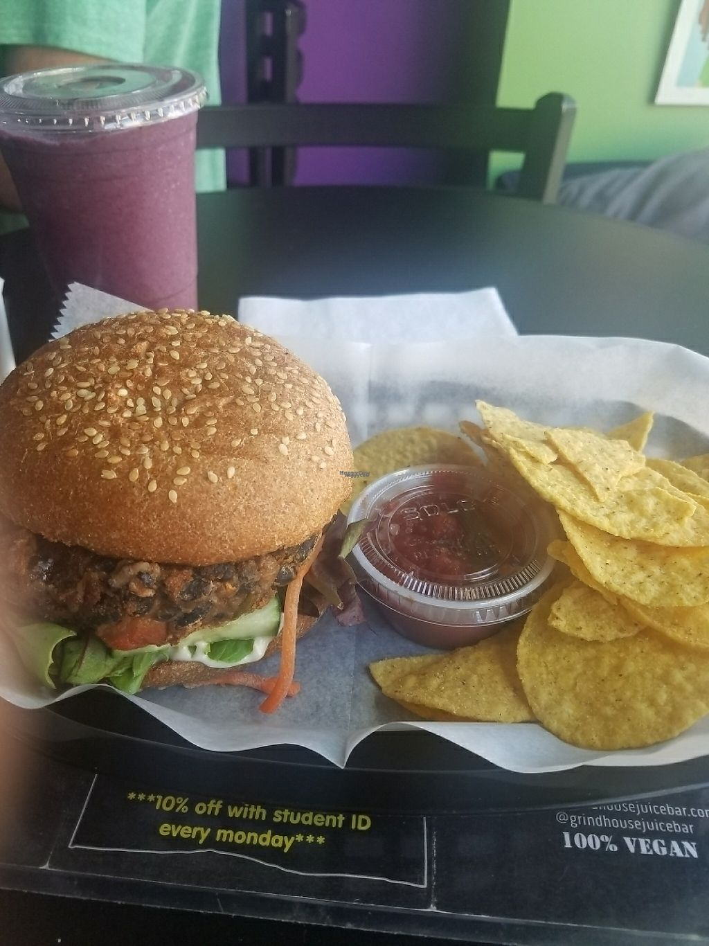 """Photo of Grind House Juice Bar  by <a href=""""/members/profile/cadeyh"""">cadeyh</a> <br/>black bean burger & blueberry pie smoothie <br/> April 28, 2017  - <a href='/contact/abuse/image/32754/253512'>Report</a>"""