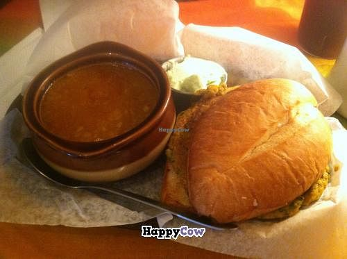 """Photo of CLOSED: Mother Earth Sanctuary Cafe  by <a href=""""/members/profile/kmilitello"""">kmilitello</a> <br/>Chakra burger: Sweet potato based with egg plant, fresh kale, celery, and broccoli, curry and cumin. Served with Ethiopian lentil soup.  <br/> July 16, 2013  - <a href='/contact/abuse/image/32776/51340'>Report</a>"""