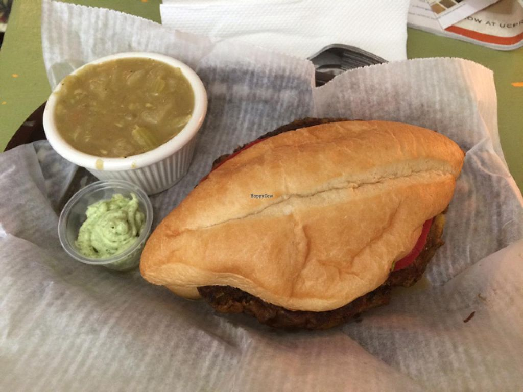 """Photo of CLOSED: Mother Earth Sanctuary Cafe  by <a href=""""/members/profile/kmilitello"""">kmilitello</a> <br/>$10 special: dragon burger on a roll, side of spicy cabbage soup, vegan cilantro sauce, and iced teas <br/> April 5, 2015  - <a href='/contact/abuse/image/32776/97891'>Report</a>"""