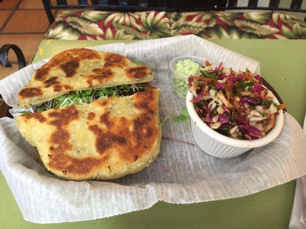 """Photo of CLOSED: Mother Earth Sanctuary Cafe  by <a href=""""/members/profile/kmilitello"""">kmilitello</a> <br/>$10 special: chocolate black bean burger on naan bread (naan has dairy), house made slaw, vegan cilantro sauce, and tea <br/> April 5, 2015  - <a href='/contact/abuse/image/32776/97892'>Report</a>"""