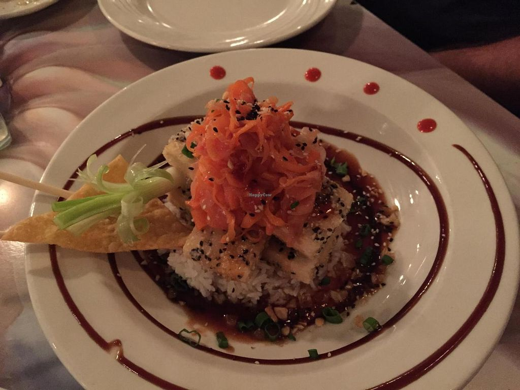 """Photo of CLOSED: Kaya Island Eats  by <a href=""""/members/profile/sunshineMUC"""">sunshineMUC</a> <br/>fried sesame tofu with sticky rice in a spicy sauce with ginger carrot topping, just yummy! <br/> December 8, 2014  - <a href='/contact/abuse/image/32801/87466'>Report</a>"""