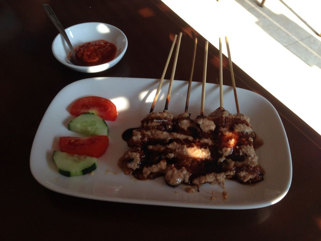 """Photo of I Love Vegetarian Food - De Ra Sa  by <a href=""""/members/profile/Michael.Milla"""">Michael.Milla</a> <br/>Ayam Sate - 'chicken' saté (seitan) it was smokey grilled! delicious! <br/> October 26, 2015  - <a href='/contact/abuse/image/32847/122711'>Report</a>"""