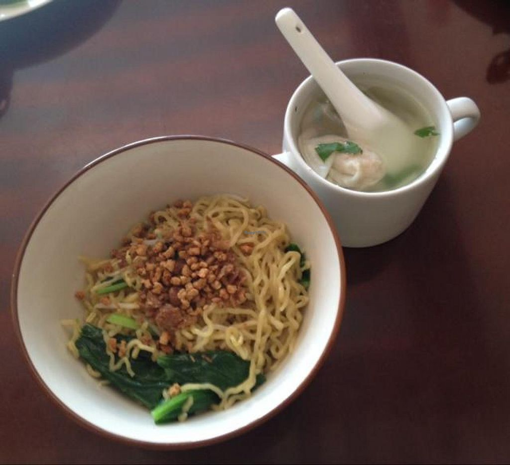 """Photo of I Love Vegetarian Food - De Ra Sa  by <a href=""""/members/profile/Ayane"""">Ayane</a> <br/>Minced chicken noodles with dumpling soup <br/> August 15, 2014  - <a href='/contact/abuse/image/32847/77008'>Report</a>"""