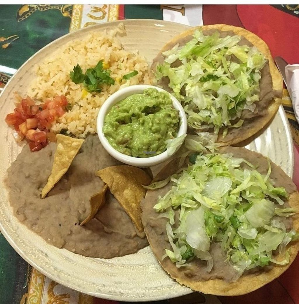 """Photo of La Bamba  by <a href=""""/members/profile/wildflowerc"""">wildflowerc</a> <br/>Vegan tostadas with beans, rice, and guac <br/> August 4, 2016  - <a href='/contact/abuse/image/32951/165383'>Report</a>"""
