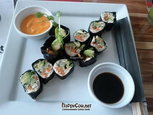 """Photo of Vegan Planet  by <a href=""""/members/profile/aprocopio"""">aprocopio</a> <br/>Sushi vegan raw - Almond and sunflower seed's pate, and avocado, wrapped in nori <br/> June 30, 2012  - <a href='/contact/abuse/image/32976/34014'>Report</a>"""