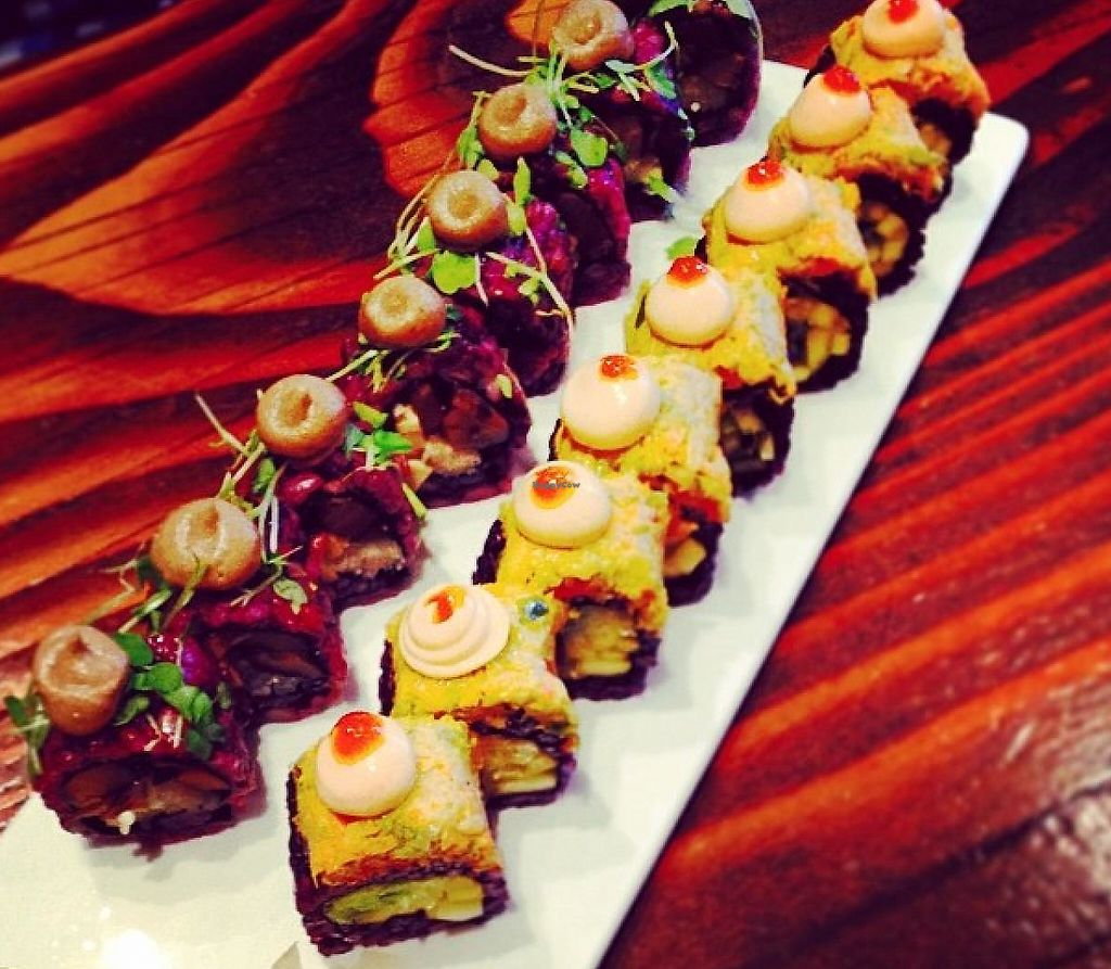 """Photo of Beyond Sushi - Union Square  by <a href=""""/members/profile/aner1kind17"""">aner1kind17</a> <br/>Mushroom roll and Sriracha mango roll! <br/> June 9, 2014  - <a href='/contact/abuse/image/32985/211676'>Report</a>"""