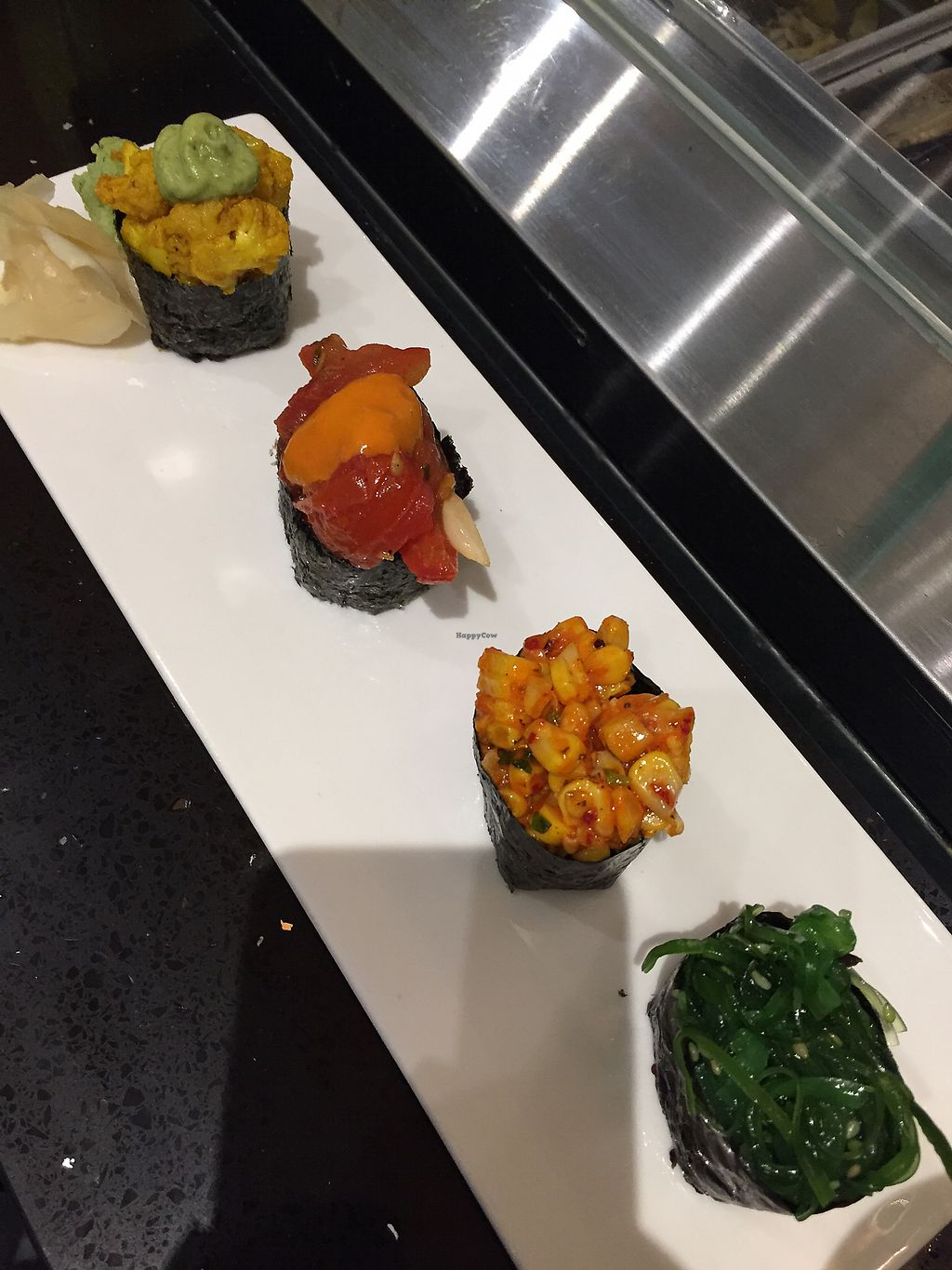 """Photo of Beyond Sushi - Union Square  by <a href=""""/members/profile/TomBlacker"""">TomBlacker</a> <br/>Sushi 4 pic sampler <br/> September 22, 2017  - <a href='/contact/abuse/image/32985/307272'>Report</a>"""