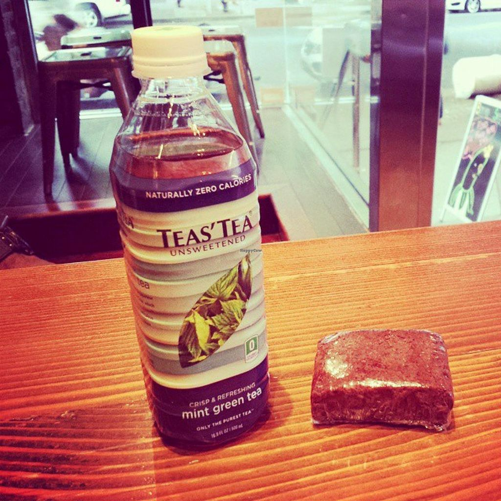 """Photo of Beyond Sushi - Union Square  by <a href=""""/members/profile/cherryblossom153"""">cherryblossom153</a> <br/>Black bean and sweet potato brownie with unsweetend tea <br/> March 12, 2015  - <a href='/contact/abuse/image/32985/95516'>Report</a>"""