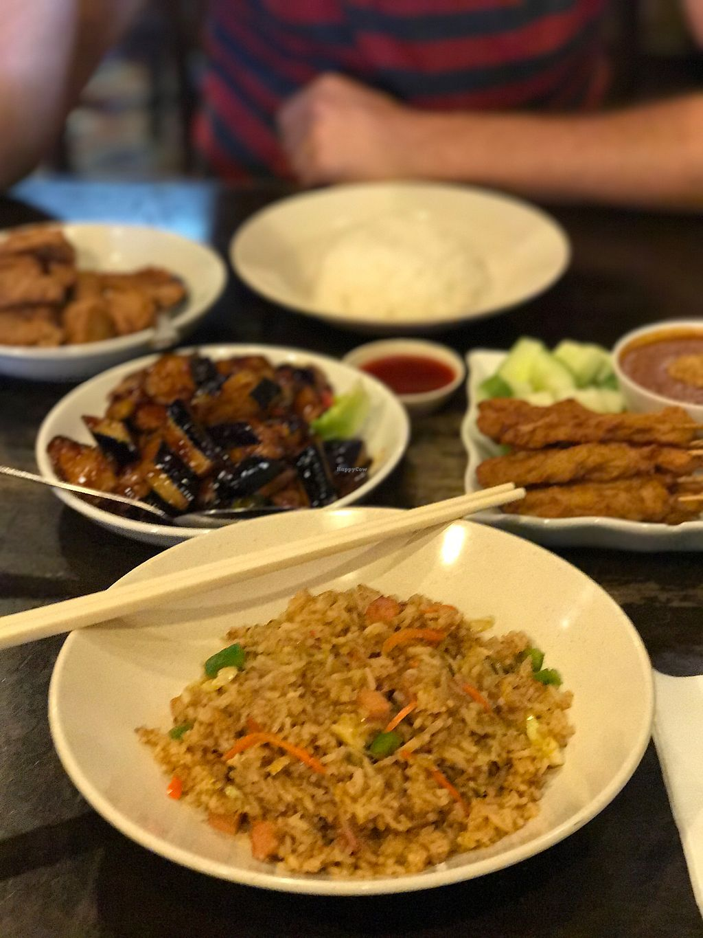 """Photo of Zen Xin Vegetarian  by <a href=""""/members/profile/EllenVanGool"""">EllenVanGool</a> <br/>satay, fried rice, eggplant & fried chicken <br/> July 20, 2017  - <a href='/contact/abuse/image/33012/282369'>Report</a>"""