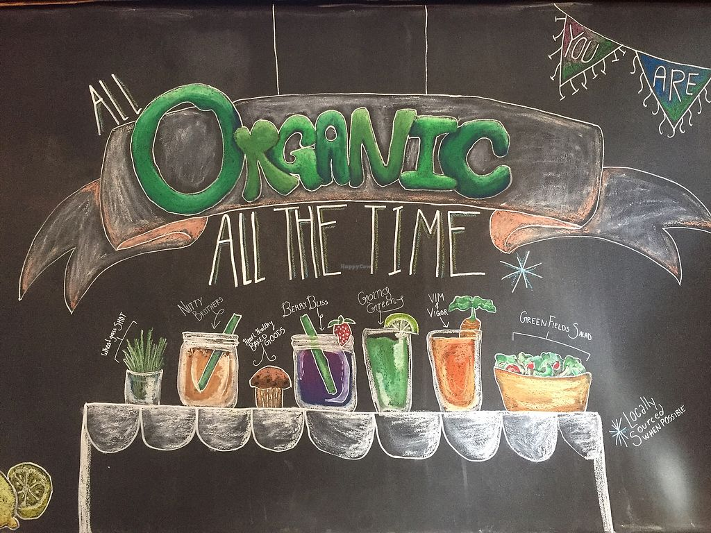 """Photo of Roots Organic Juice Cafe  by <a href=""""/members/profile/happycowgirl"""">happycowgirl</a> <br/>All organic!  <br/> September 19, 2017  - <a href='/contact/abuse/image/33022/305951'>Report</a>"""