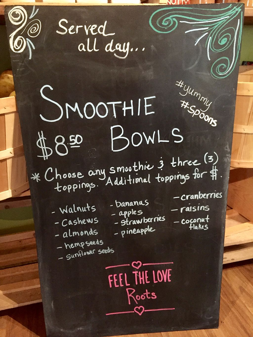 """Photo of Roots Organic Juice Cafe  by <a href=""""/members/profile/happycowgirl"""">happycowgirl</a> <br/>Smoothie Bowls! <br/> October 11, 2017  - <a href='/contact/abuse/image/33022/314336'>Report</a>"""