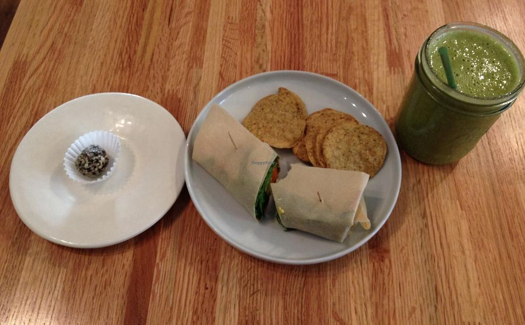 """Photo of Roots Organic Juice Cafe  by <a href=""""/members/profile/Alee23"""">Alee23</a> <br/>Jungle Gym smoothie and Spicy Bean wrap <br/> February 24, 2014  - <a href='/contact/abuse/image/33022/64792'>Report</a>"""
