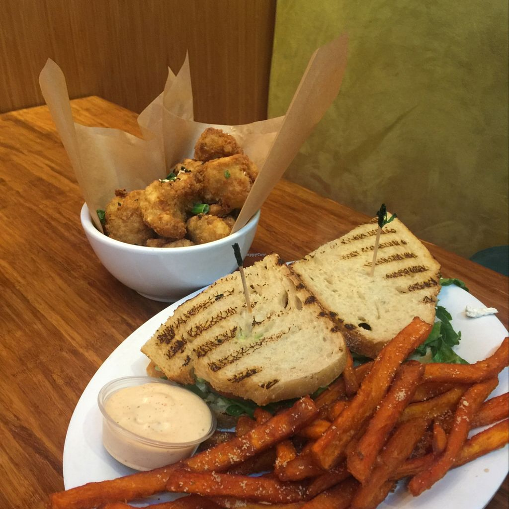 """Photo of Veggie Grill  by <a href=""""/members/profile/ReneeNButtercup"""">ReneeNButtercup</a> <br/>boys sweet potato fries and cauliflower  <br/> December 26, 2015  - <a href='/contact/abuse/image/33046/129885'>Report</a>"""